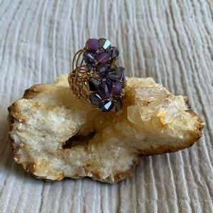 Jewelry - Handmade Amethyst Lucite Gold Wire Wrapped Ring